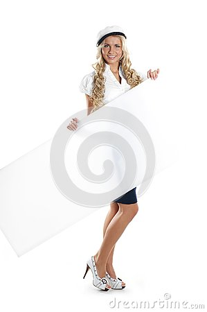 Image of a young sailor girl holding a poster