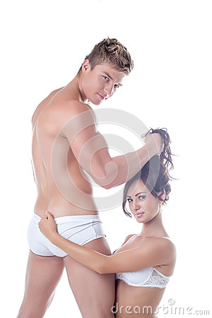 Image of young sensual lovers posing at camera