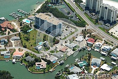 Imagem aérea litoral de Florida