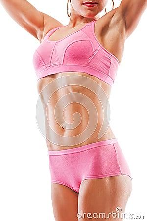 Imagem conceptual forte saudável do corpo fêmea da aptidão que faz dieta &