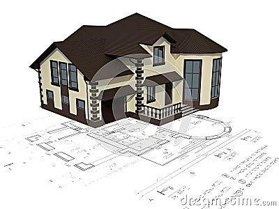 A imagem da casa 3d na planta imagem de stock royalty free for Programma x arredare casa 3d