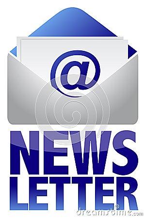 Imagem do conceito do boletim de notícias do texto e do email