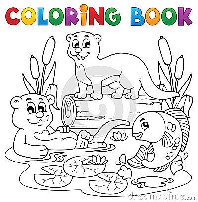 Imagen 3 de la fauna del río del libro de colorear