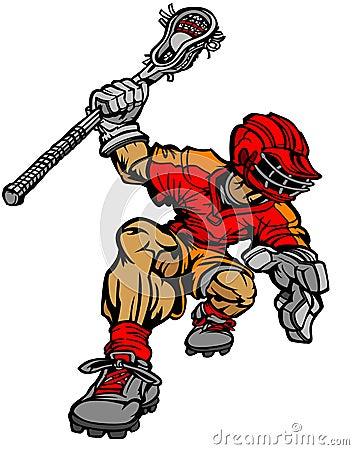 Imagen del vector de la historieta del jugador del lacrosse