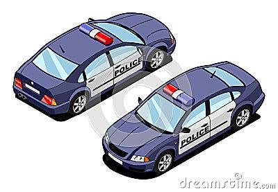 Imagen isométrica de un coche patrulla