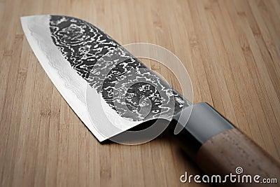 Imagen sucia del cuchillo de cocina del acero de damasco fotos de archivo libres de regal as - Cuchillo de cocina acero damasco ...