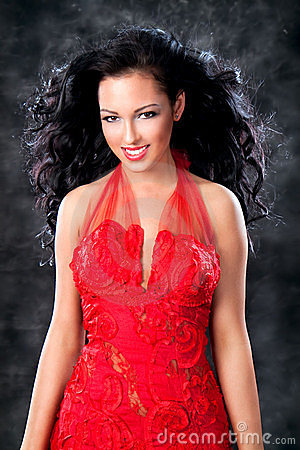 Images of beautiful glamorous girl with red dress