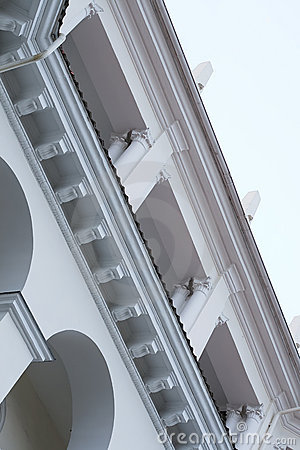 Images of facades of city buildings