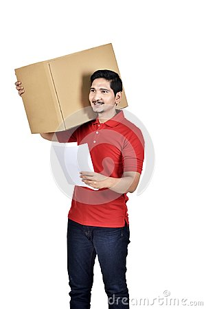 Free Images Of Asian Delivery Man Carrying Cardboard With Paper On Hi Stock Image - 118233371