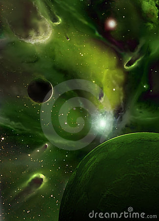 Free Imaginary Green Nebula Royalty Free Stock Photography - 12866357