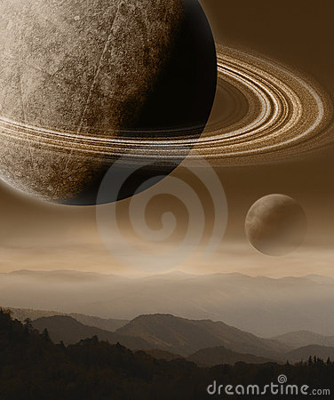 Imaginary Landscape with Planets