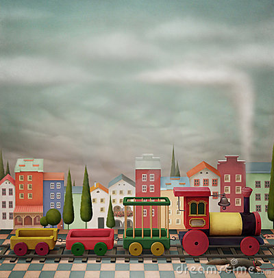 Free Imaginary Toy Train And The City Stock Photos - 18588873