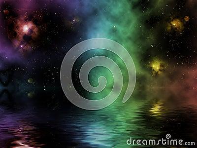 Imaginary universe with pretty nebula