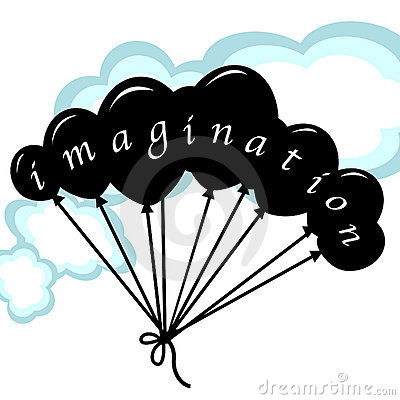 Imagination concept with balloons and clouds