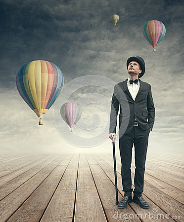 Free Imaginative Vintage Businessman With Hot Air Ballons Royalty Free Stock Photography - 46638837