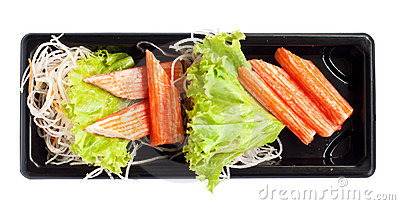 Imitation crab meat isolated