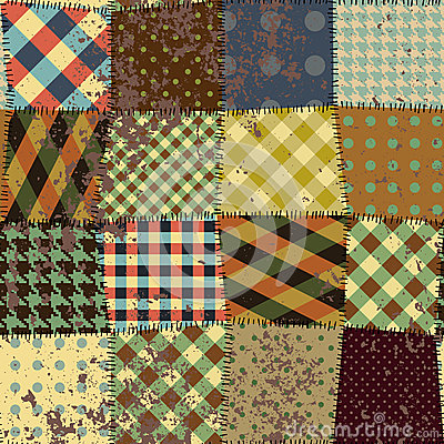 Imitation of quilting design in grunge style
