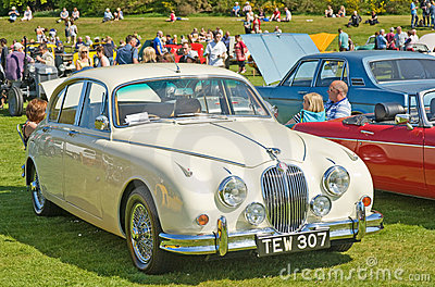 Immaculate white Jaguar at Forres Theme day. Editorial Photography