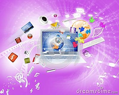 Immagine di sfondo con il computer portatile