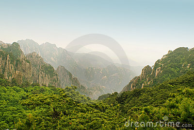 Immense view from the top of huangshan mountain