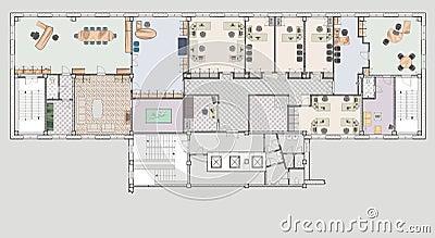 immeuble de bureaux de plan illustration stock image 52367599. Black Bedroom Furniture Sets. Home Design Ideas