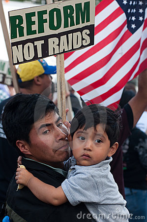 Immigrant Families on the March Editorial Image