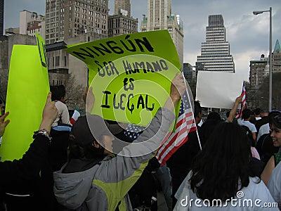 Immigrants marching on brooklyn bridge