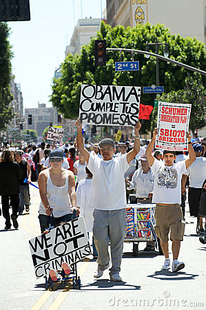 Immigration march in Los Angeles Editorial Photography