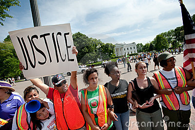Immigration Protest at White House Editorial Stock Photo