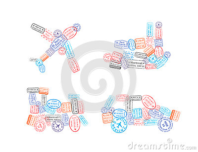 Immigration stamps arranged in car, plane, ship and train shape isolated on white Vector Illustration