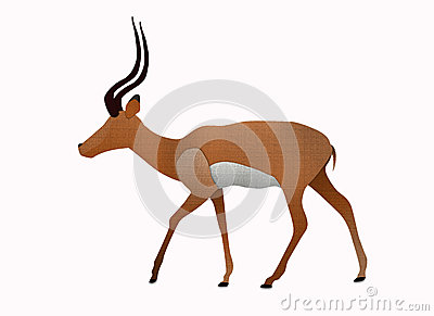 Impala made from recycled paper isolated on white