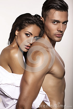Free Impassioned Couple Posing In Studio Stock Image - 49628811