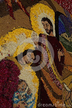 Imperia, Italy - June 10, 2007: Infiorata Ligurian Editorial Photography