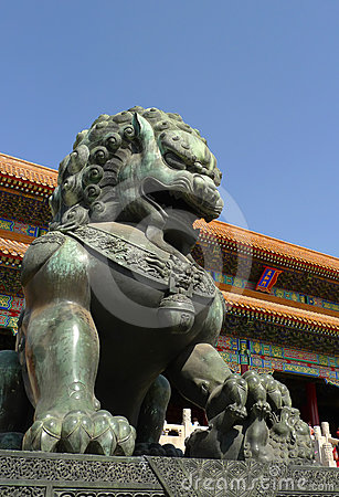 An imperial guardian lion the Forbidden City