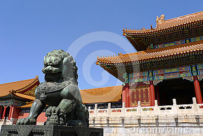 An imperial guardian lion in Forbidden City