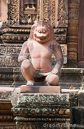 Imperial Lion guardian statue, Angkor, Cambodia