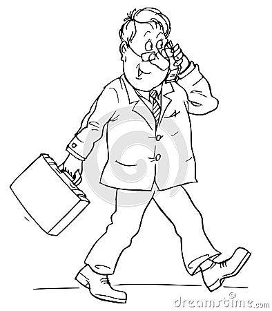 In bianco e nero: l'uomo corrente comunica sul telefono mobile