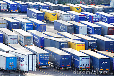 Import and export trailers Editorial Image