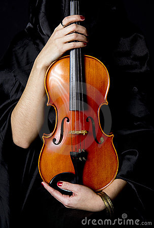 Important Violin Held By Caring Woman