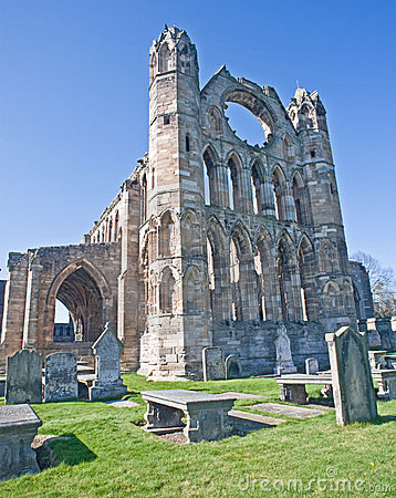 The imposing east front of Elgin Cathedral.