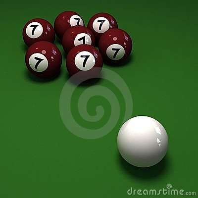 Impossible billiards game showing seven balls with