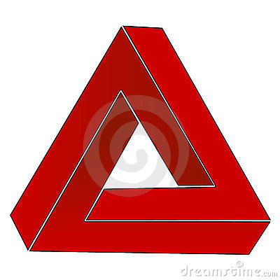 how to draw the impossible triangle optical illusion