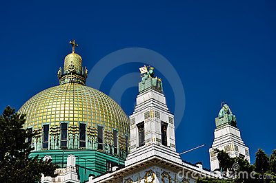 Impressive art deco church with golden cuppola