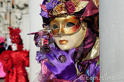 Impressive purple beautiful gold mask