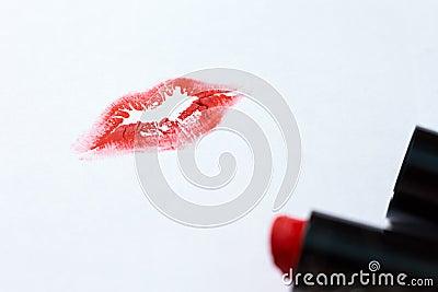 Women`s lip print and red lipstick Stock Photo
