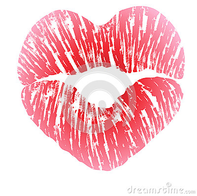 Imprint of heart shaped lips Vector Illustration