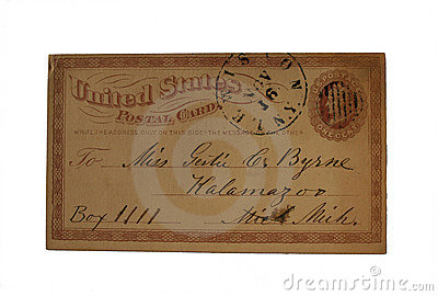 An imprinted one cent US postcard posted in Lewiston, NY and addressed to Kalamzoo, Michigan