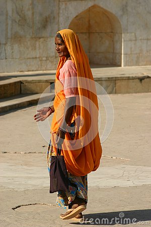 Free In An Orange Sari Stock Images - 130477204