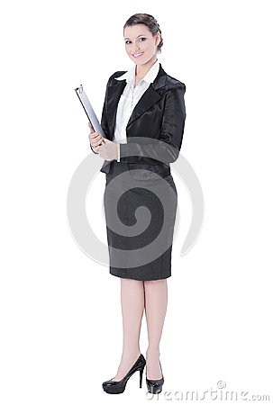 Free In Full Growth.Executive Business Woman With Documents Royalty Free Stock Images - 121044009
