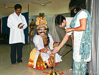 Inaguration of Yakshagana,folk dance of Karnataka. Editorial Image